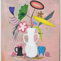 A Pretend Abstraction via Vase of Flowers with 4 Skulls, 2013