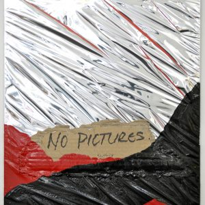 John Knuth | From the series: Homeless, 2019. Collage / painting, Homeless sign, mirrored Mylar and acrylic on board. Marie Kirkegaard Gallery