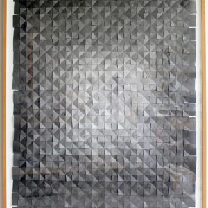Anna Bak | Slowly Changing Dimensions, 2016 Collage of graphite dusted paper, 140 x 100 cm. Marie Kirkegaard Gallery