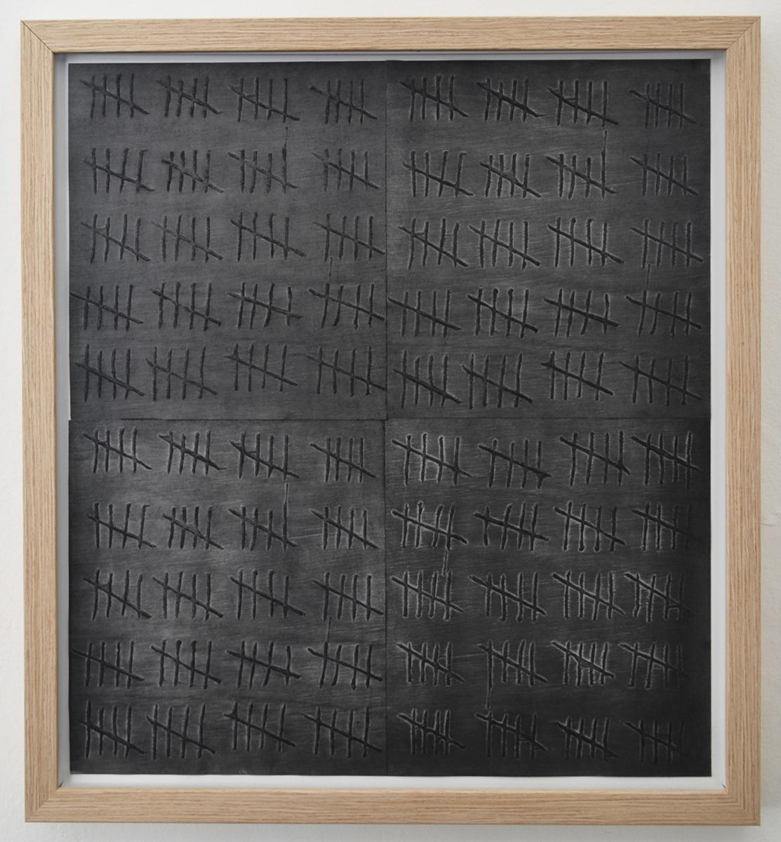 19 Anna Bak   400, 2019   Woodcut, graphite dust on paper, 55 x 50 cm. Marie Kirkegaard Gallery