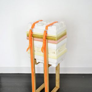 Anna Bak | How to Handle Accumulation #1, 2019. Sculpture, Wax, foam, PY-foam, plaster, straps and wood. Marie Kirkegaard Gallery