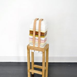 Anna Bak | How to Handle Accumulation #3, 2019. Mixed media sculpture, wax, foam, clay, rubber, plaster, leather straps and wood. Marie Kirkegaard Gallery