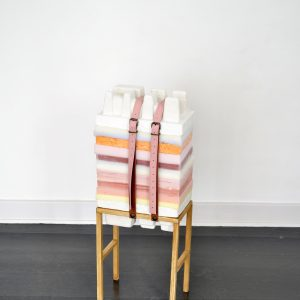 Anna Bak | How to Handle Accumulation #2, 2019. Mixed media sculpture, wax, foam, clay, styrofoam, latex, plaster, leather straps and wood. Marie Kirkegaard Gallery