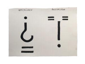 Claus Ejner | Drawing; Optimist / Pessimist, 2019. Gouache. Marie Kirkegaard Gallery