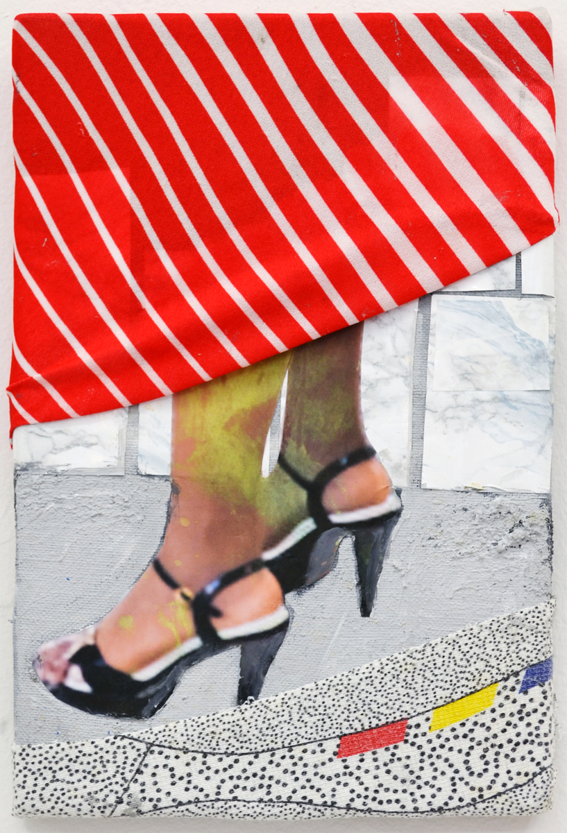 Mette Vangsgaard | Legs and Shoes and Textures, 2015. Mixed media collage, 30x20 cm
