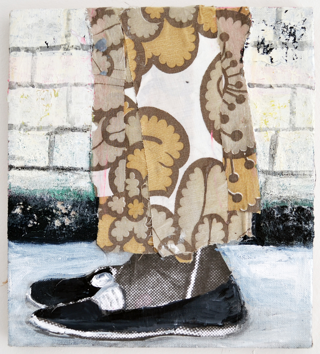 Mette Vangsgaard | Legs and Shoes and Textures, 2015. Mixed media collage, 30x27 cm