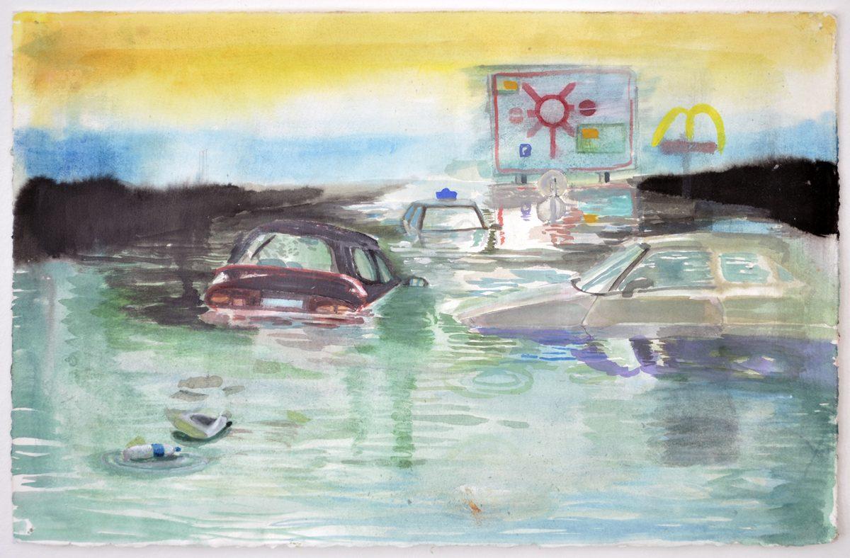 Mette Vangsgaard, Untitled, 2018. Watercolor and gouache on paper, 33 x 50,5 cm