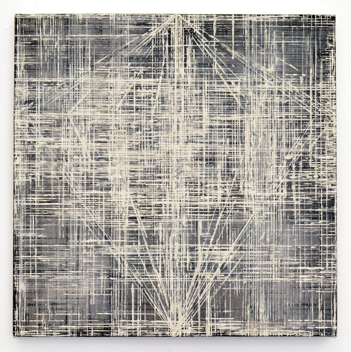 Rieko Hotta, Obelisk Series 1, 2017. Tempera on cotton canvas, 30 x 30 cm
