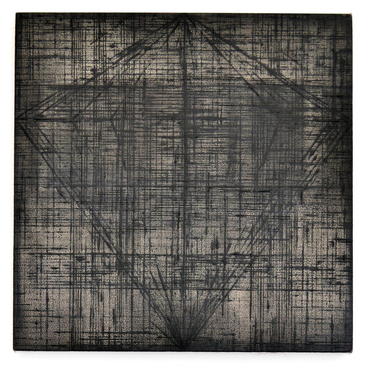 Rieko Hotta, Obelisk Series 2, 2017. Tempera on cotton canvas, 30 x 30 cm
