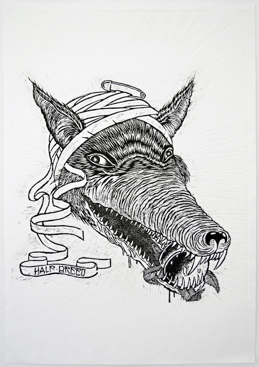 Silas Inoue, Tail Chaser, 2010. Woodcut, 1-1, 82 x 57,5 cm